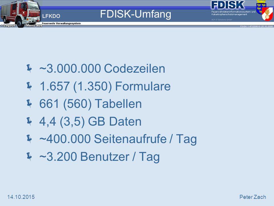 14.10.2015Peter Zach FDISK / Leistungsdaten 2007  62.000 bearbeitete Kursanmeldungen  1225 Kurse  29.499 Teilnehmer davon 13.084 NÖ LFWS 16.415 AFKDO, BFKDO, LFKDO  21.484 +5% (14.204) Übungsberichte  86.927 +39% (52.728) Tätigkeitsberichte  68.720 +16% (58.348) Einsatzberichte