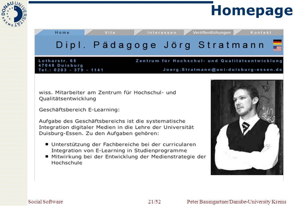 Social SoftwarePeter Baumgartner/Danube-University Krems21/52 Homepage