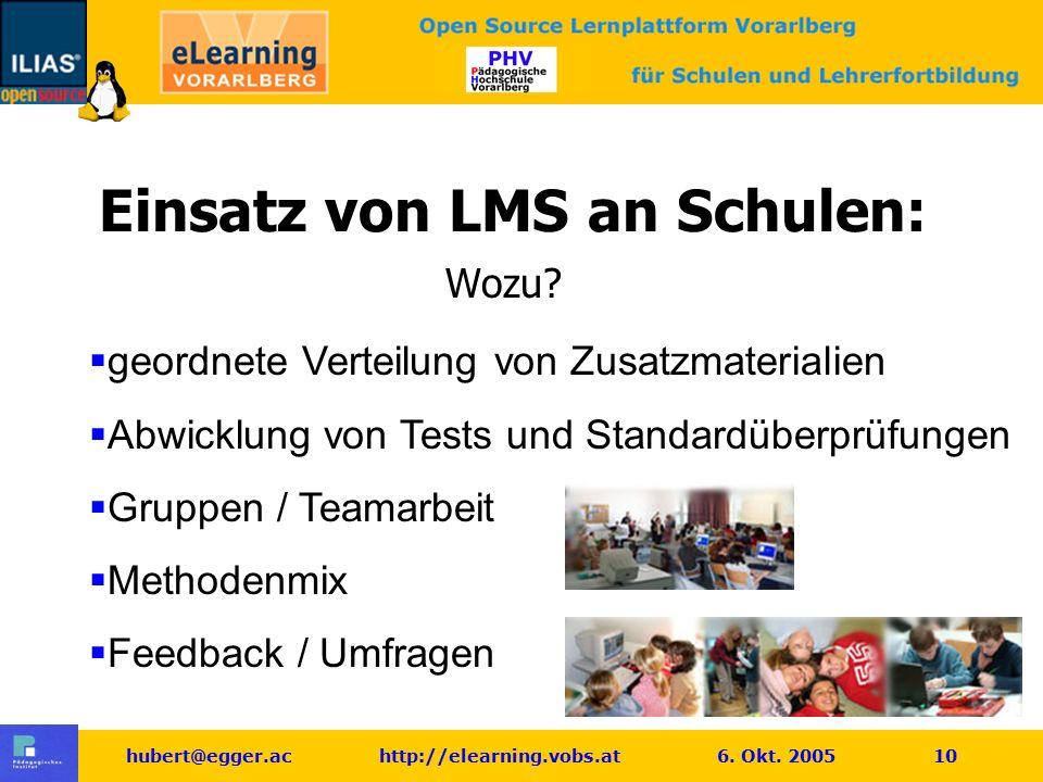 hubert@egger.ac http://elearning.vobs.at 6. Okt. 2005 10 Einsatz von LMS an Schulen: Wozu?  geordnete Verteilung von Zusatzmaterialien  Abwicklung v