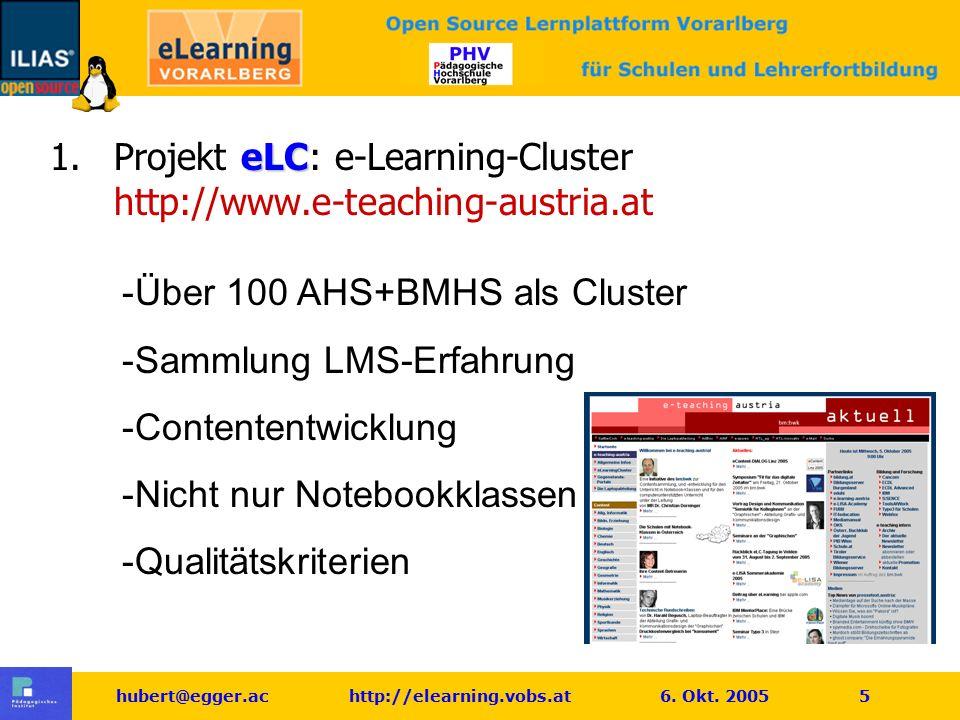 hubert@egger.ac http://elearning.vobs.at 6.Okt. 2005 6 eLSA 2.