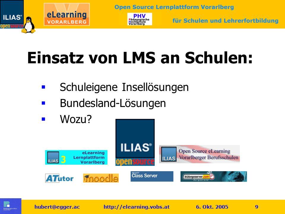hubert@egger.ac http://elearning.vobs.at 6.Okt. 2005 10 Einsatz von LMS an Schulen: Wozu.