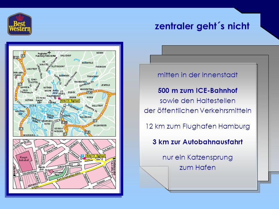 zentraler geht´s nicht mitten in der Innenstadt 500 m zum ICE-Bahnhof sowie den Haltestellen der öffentlichen Verkehrsmitteln 12 km zum Flughafen Hamburg 3 km zur Autobahnausfahrt nur ein Katzensprung zum Hafen
