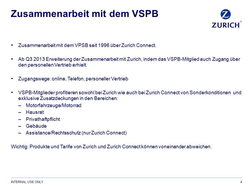 INTERNAL USE ONLY Zusammenarbeit mit dem VSPB Zusammenarbeit mit dem VPSB seit 1996 über Zurich Connect.