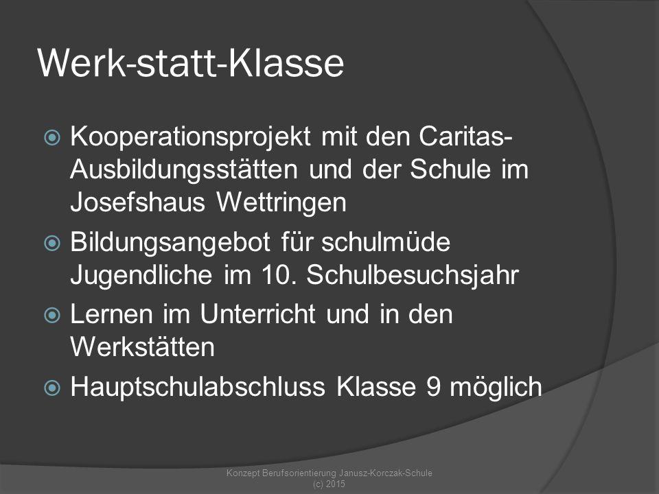 Werk-statt-Klasse  Kooperationsprojekt mit den Caritas- Ausbildungsstätten und der Schule im Josefshaus Wettringen  Bildungsangebot für schulmüde Jugendliche im 10.