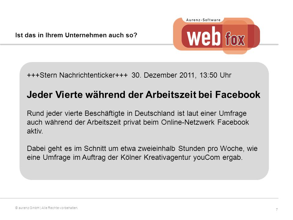 7 © aurenz GmbH | Alle Rechte vorbehalten. +++Stern Nachrichtenticker+++ 30.