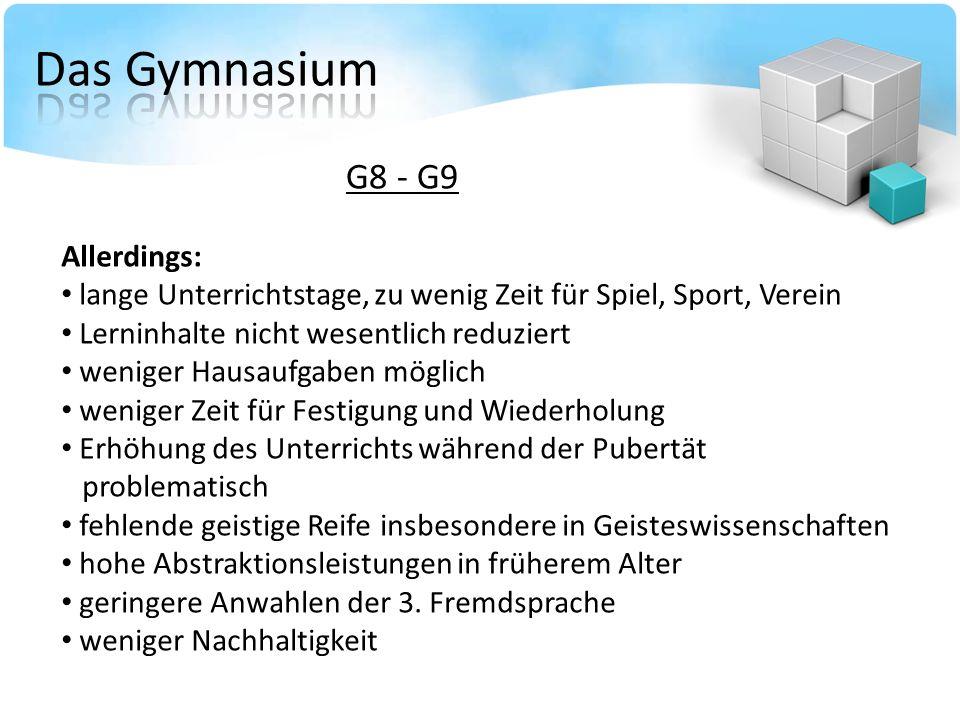 G8 - G9 Allerdings: lange Unterrichtstage, zu wenig Zeit für Spiel, Sport, Verein Lerninhalte nicht wesentlich reduziert weniger Hausaufgaben möglich