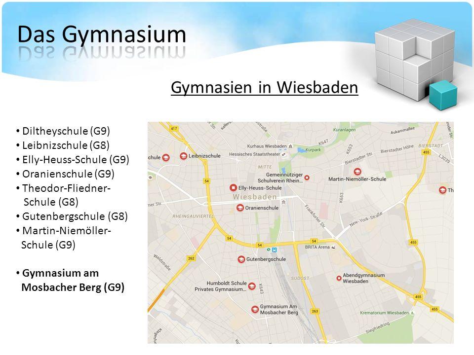 Gymnasien in Wiesbaden Diltheyschule (G9) Leibnizschule (G8) Elly-Heuss-Schule (G9) Oranienschule (G9) Theodor-Fliedner- Schule (G8) Gutenbergschule (G8) Martin-Niemöller- Schule (G9) Gymnasium am Mosbacher Berg (G9)