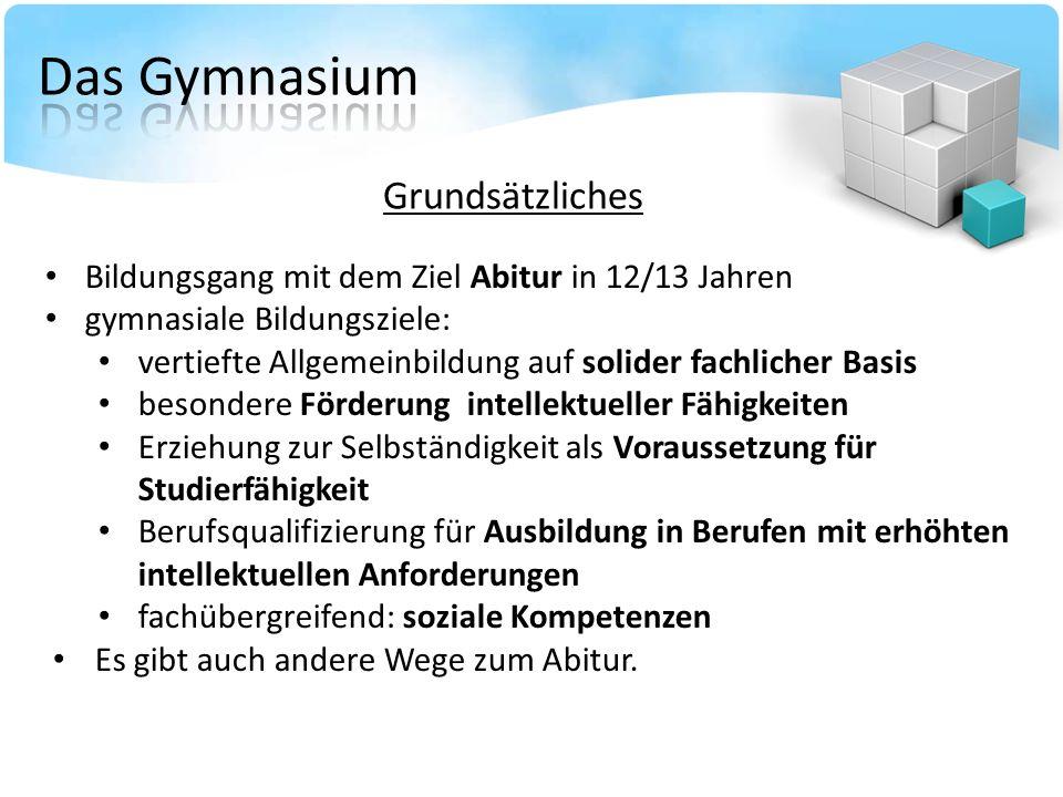 Bildungsgang mit dem Ziel Abitur in 12/13 Jahren gymnasiale Bildungsziele: vertiefte Allgemeinbildung auf solider fachlicher Basis besondere Förderung