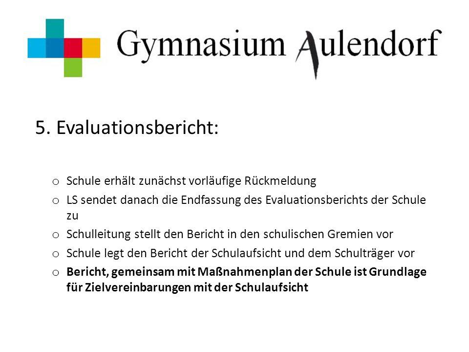 5. Evaluationsbericht: o Schule erhält zunächst vorläufige Rückmeldung o LS sendet danach die Endfassung des Evaluationsberichts der Schule zu o Schul