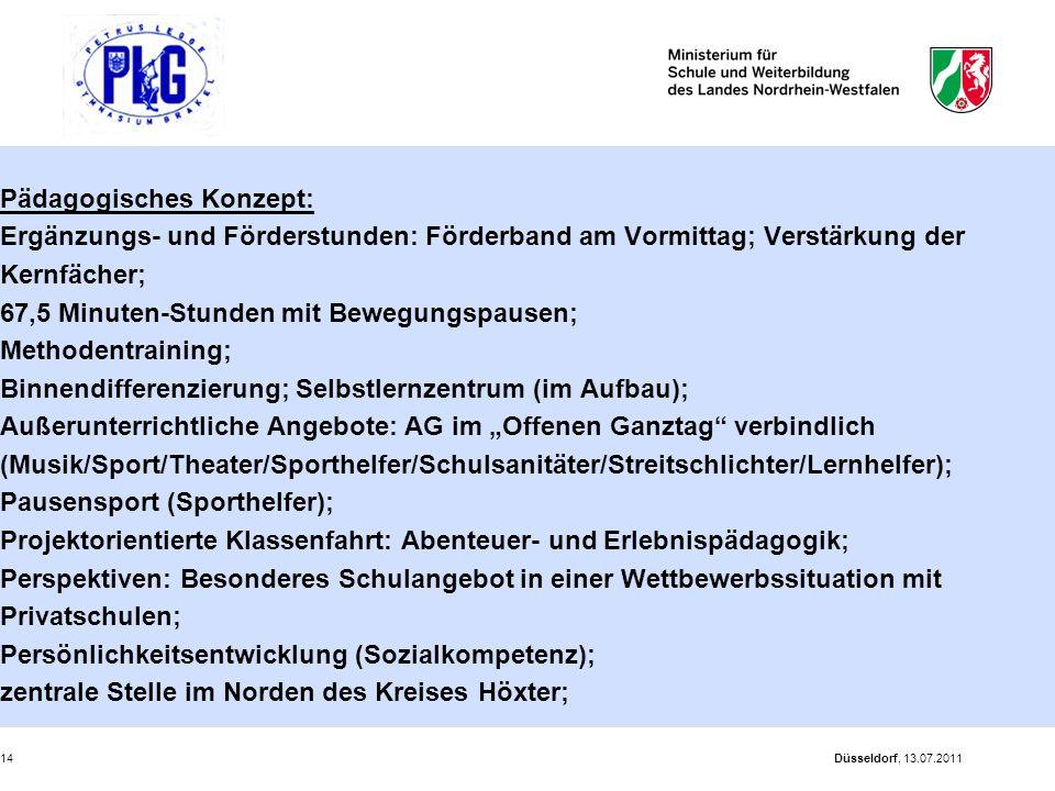 Düsseldorf, 13.07.201114 Pädagogisches Konzept: Ergänzungs- und Förderstunden: Förderband am Vormittag; Verstärkung der Kernfächer; 67,5 Minuten-Stund