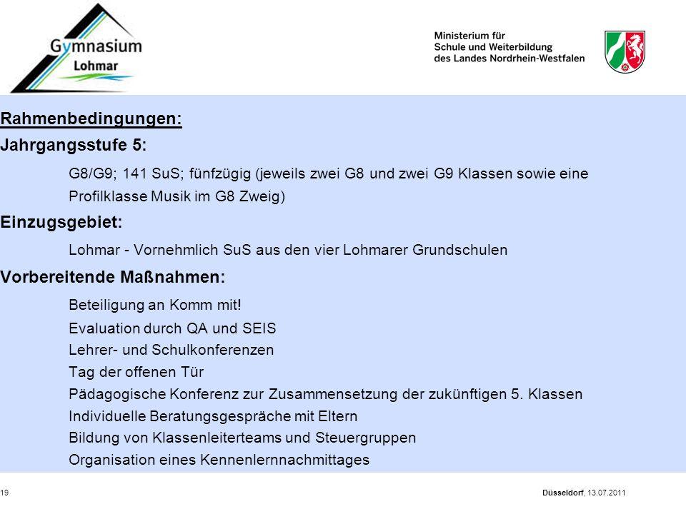 Düsseldorf, 13.07.201119 Rahmenbedingungen: Jahrgangsstufe 5: G8/G9; 141 SuS; fünfzügig (jeweils zwei G8 und zwei G9 Klassen sowie eine Profilklasse M
