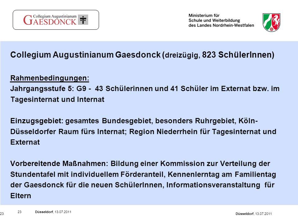Düsseldorf, 13.07.201123 Düsseldorf, 13.07.201123 Collegium Augustinianum Gaesdonck ( dreizügig, 823 SchülerInnen) Rahmenbedingungen: Jahrgangsstufe 5