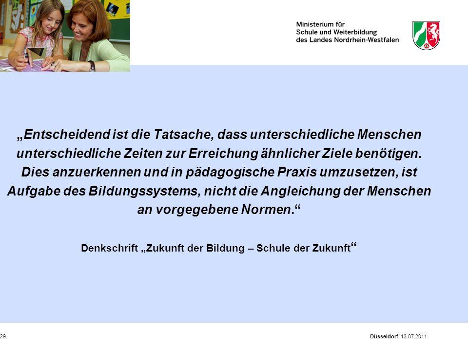 """Düsseldorf, 13.07.201129 """"Entscheidend ist die Tatsache, dass unterschiedliche Menschen unterschiedliche Zeiten zur Erreichung ähnlicher Ziele benötig"""