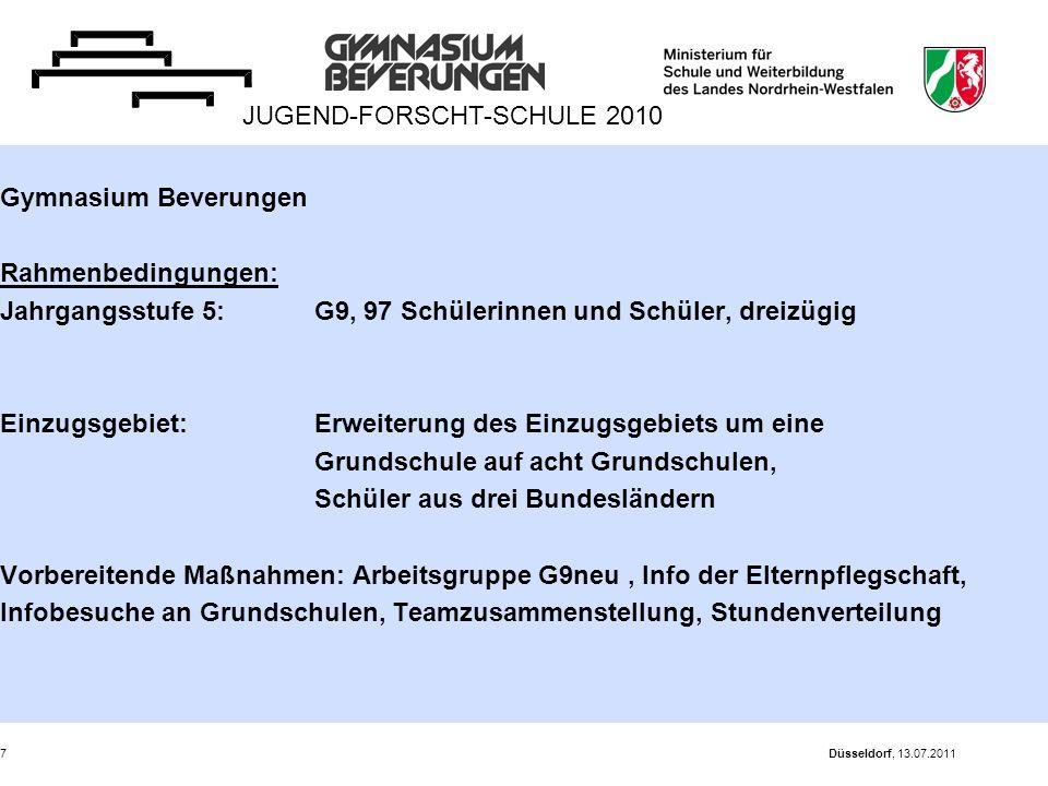Düsseldorf, 13.07.20117 Gymnasium Beverungen Rahmenbedingungen: Jahrgangsstufe 5: G9, 97 Schülerinnen und Schüler, dreizügig Einzugsgebiet: Erweiterun