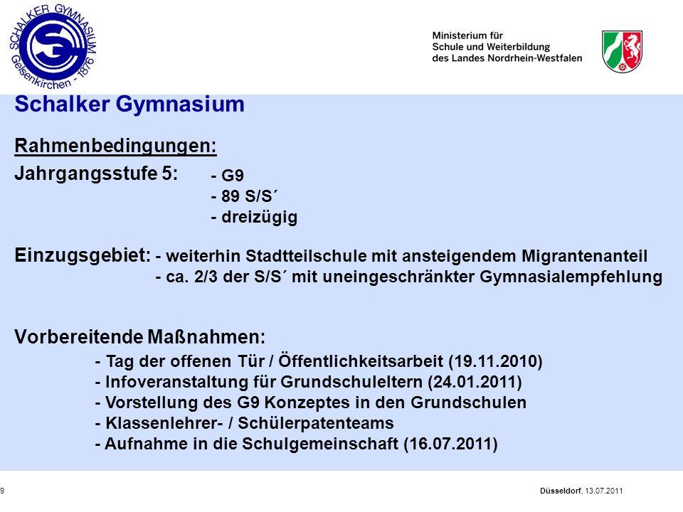Düsseldorf, 13.07.20119 Schalker Gymnasium Rahmenbedingungen: Jahrgangsstufe 5: Einzugsgebiet: Vorbereitende Maßnahmen: - weiterhin Stadtteilschule mi