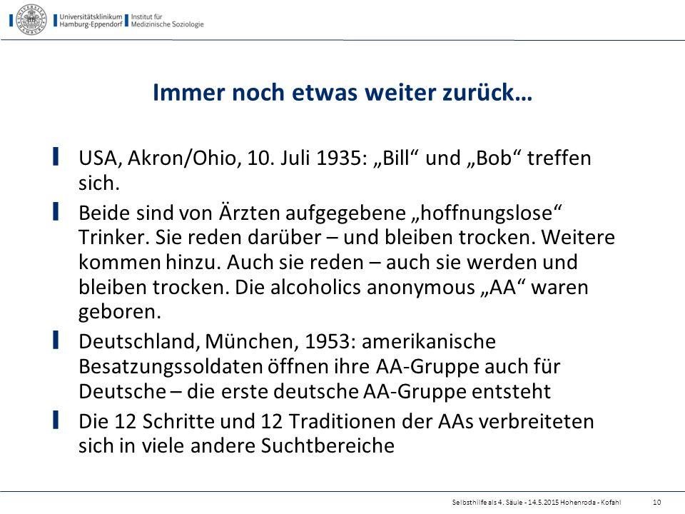 """Selbsthilfe als 4. Säule - 14.5.2015 Hohenroda - Kofahl Immer noch etwas weiter zurück… USA, Akron/Ohio, 10. Juli 1935: """"Bill"""" und """"Bob"""" treffen sich."""