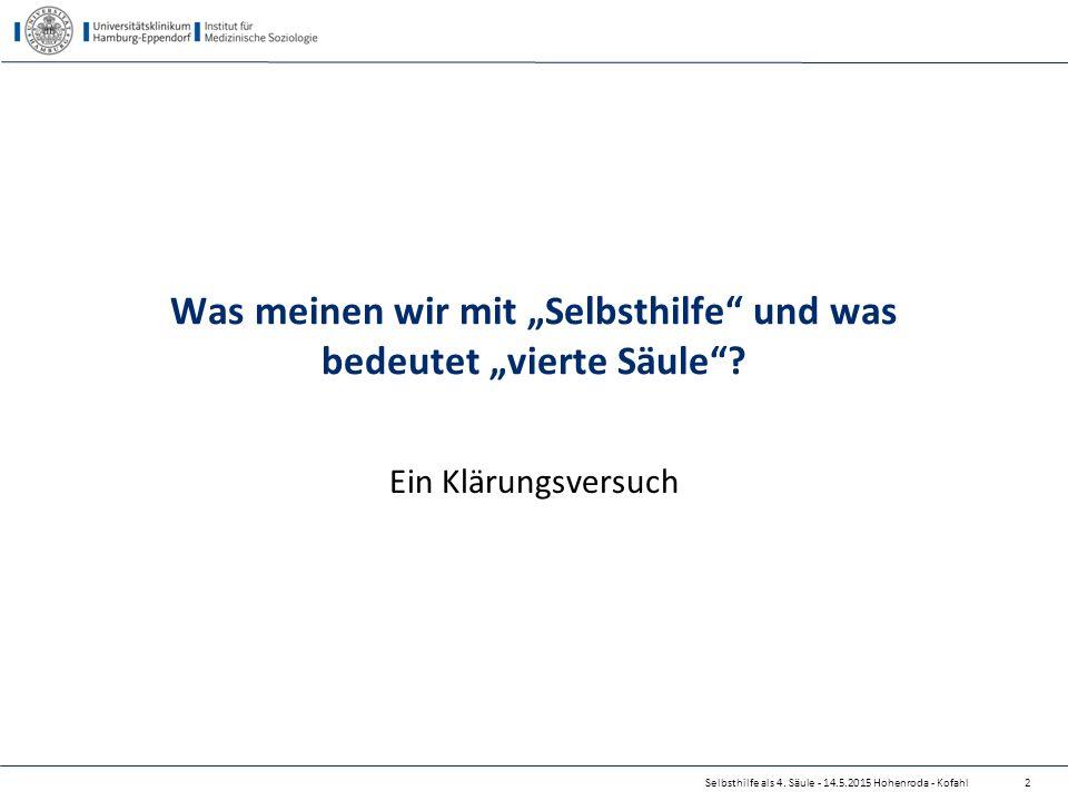 """Was meinen wir mit """"Selbsthilfe"""" und was bedeutet """"vierte Säule""""? Ein Klärungsversuch Selbsthilfe als 4. Säule - 14.5.2015 Hohenroda - Kofahl2"""