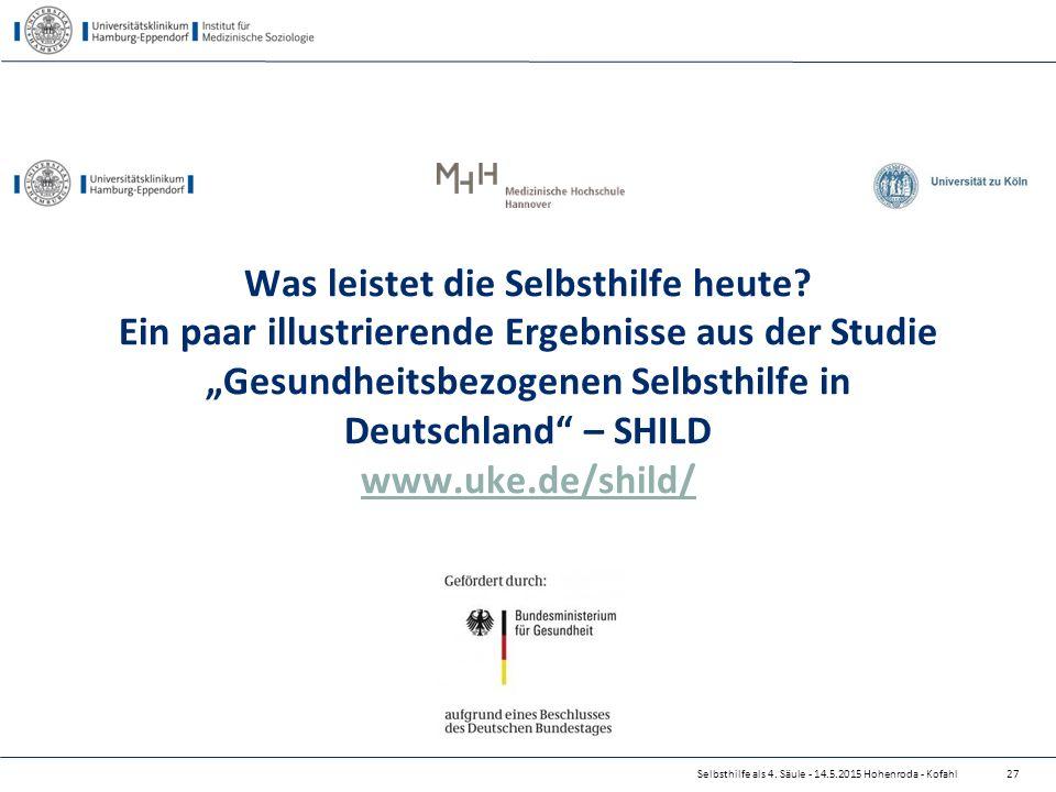 """Was leistet die Selbsthilfe heute? Ein paar illustrierende Ergebnisse aus der Studie """"Gesundheitsbezogenen Selbsthilfe in Deutschland"""" – SHILD www.uke"""