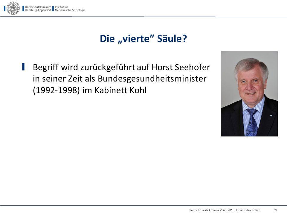 """Die """"vierte"""" Säule? Begriff wird zurückgeführt auf Horst Seehofer in seiner Zeit als Bundesgesundheitsminister (1992-1998) im Kabinett Kohl Selbsthilf"""