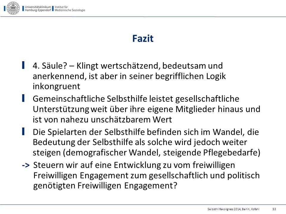 Selbsthilfekongress 2014, Berlin, Kofahl Fazit 4. Säule? – Klingt wertschätzend, bedeutsam und anerkennend, ist aber in seiner begrifflichen Logik ink