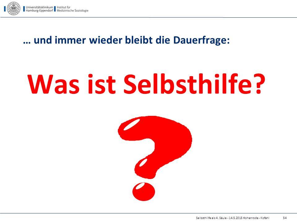 Selbsthilfe als 4. Säule - 14.5.2015 Hohenroda - Kofahl … und immer wieder bleibt die Dauerfrage: Was ist Selbsthilfe? 54