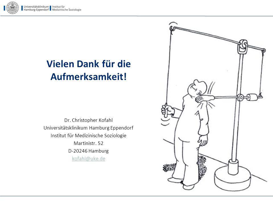 Vielen Dank für die Aufmerksamkeit! Dr. Christopher Kofahl Universitätsklinikum Hamburg Eppendorf Institut für Medizinische Soziologie Martinistr. 52