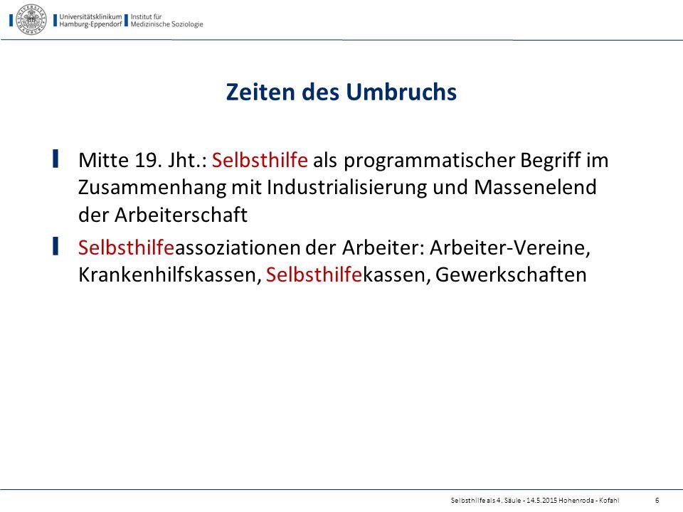 Selbsthilfe als 4. Säule - 14.5.2015 Hohenroda - Kofahl Zeiten des Umbruchs Mitte 19. Jht.: Selbsthilfe als programmatischer Begriff im Zusammenhang m