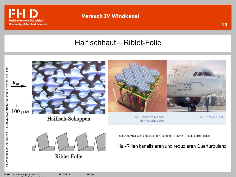 Praktikum Strömungstechnik 227.02.2014Heinze http://ifs.mv.fh-duesseldorf.de 10 Versuch IV Windkanal Haifischhaut – Riblet-Folie https://oebv.at/sixcm