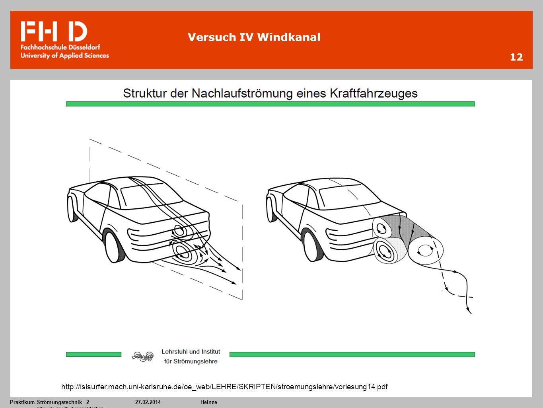 Praktikum Strömungstechnik 227.02.2014Heinze http://ifs.mv.fh-duesseldorf.de 12 Versuch IV Windkanal http://islsurfer.mach.uni-karlsruhe.de/oe_web/LEH