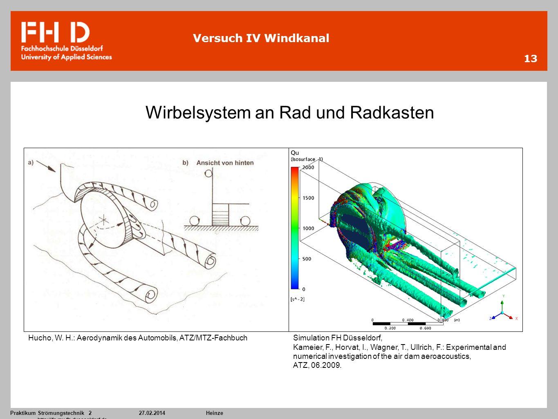 Praktikum Strömungstechnik 227.02.2014Heinze http://ifs.mv.fh-duesseldorf.de 13 Versuch IV Windkanal Hucho, W. H.: Aerodynamik des Automobils, ATZ/MTZ