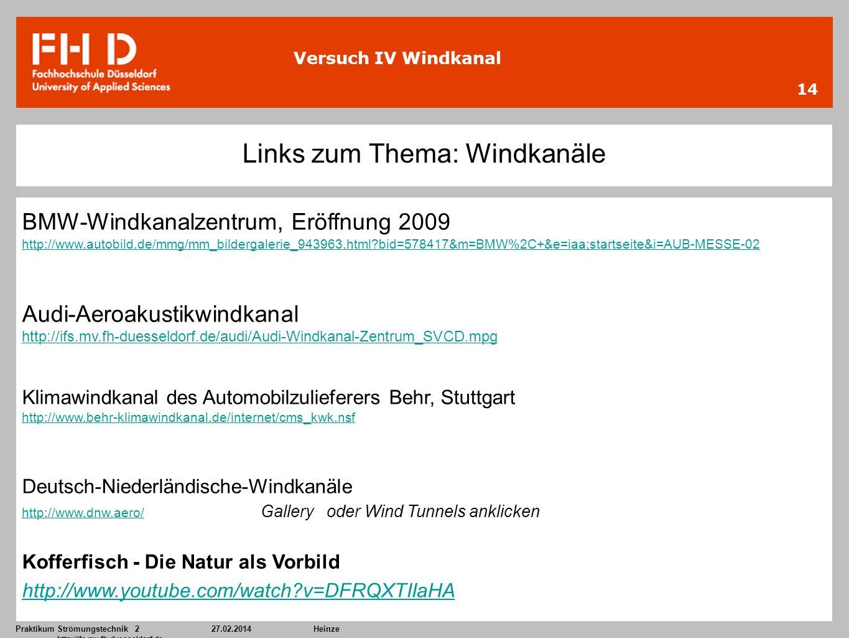Praktikum Strömungstechnik 227.02.2014Heinze http://ifs.mv.fh-duesseldorf.de 14 Versuch IV Windkanal Links zum Thema: Windkanäle BMW-Windkanalzentrum,
