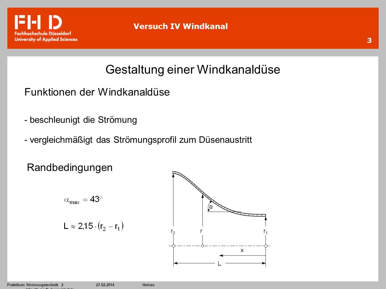 Praktikum Strömungstechnik 227.02.2014Heinze http://ifs.mv.fh-duesseldorf.de 3 Versuch IV Windkanal Gestaltung einer Windkanaldüse Funktionen der Wind