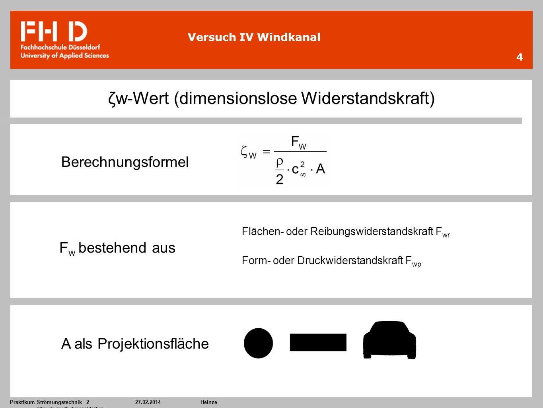 Praktikum Strömungstechnik 227.02.2014Heinze http://ifs.mv.fh-duesseldorf.de 4 Versuch IV Windkanal ζw-Wert (dimensionslose Widerstandskraft) Berechnu