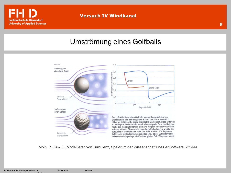 Praktikum Strömungstechnik 227.02.2014Heinze http://ifs.mv.fh-duesseldorf.de 9 Versuch IV Windkanal Umströmung eines Golfballs Moin, P., Kim, J., Mode