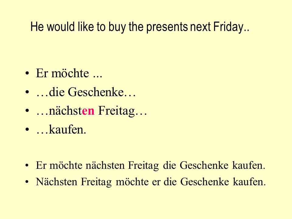 He would like to buy the presents next Friday.. Er möchte...