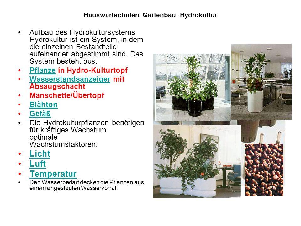 Hauswartschulen Gartenbau Hydrokultur Aufbau des Hydrokultursystems Hydrokultur ist ein System, in dem die einzelnen Bestandteile aufeinander abgestim