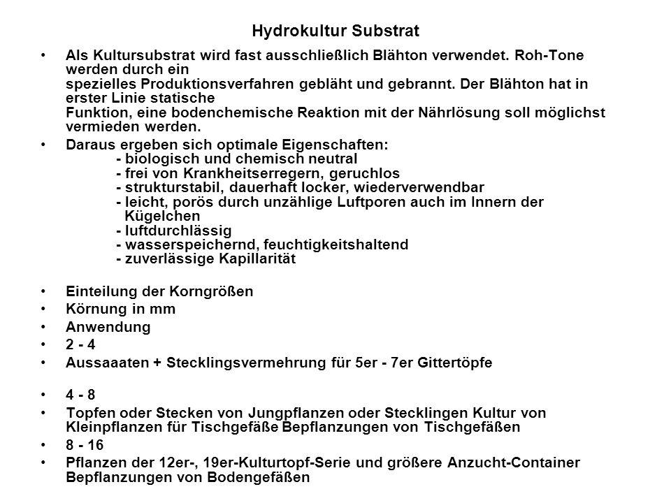 Hydrokultur Substrat Als Kultursubstrat wird fast ausschließlich Blähton verwendet. Roh-Tone werden durch ein spezielles Produktionsverfahren gebläht