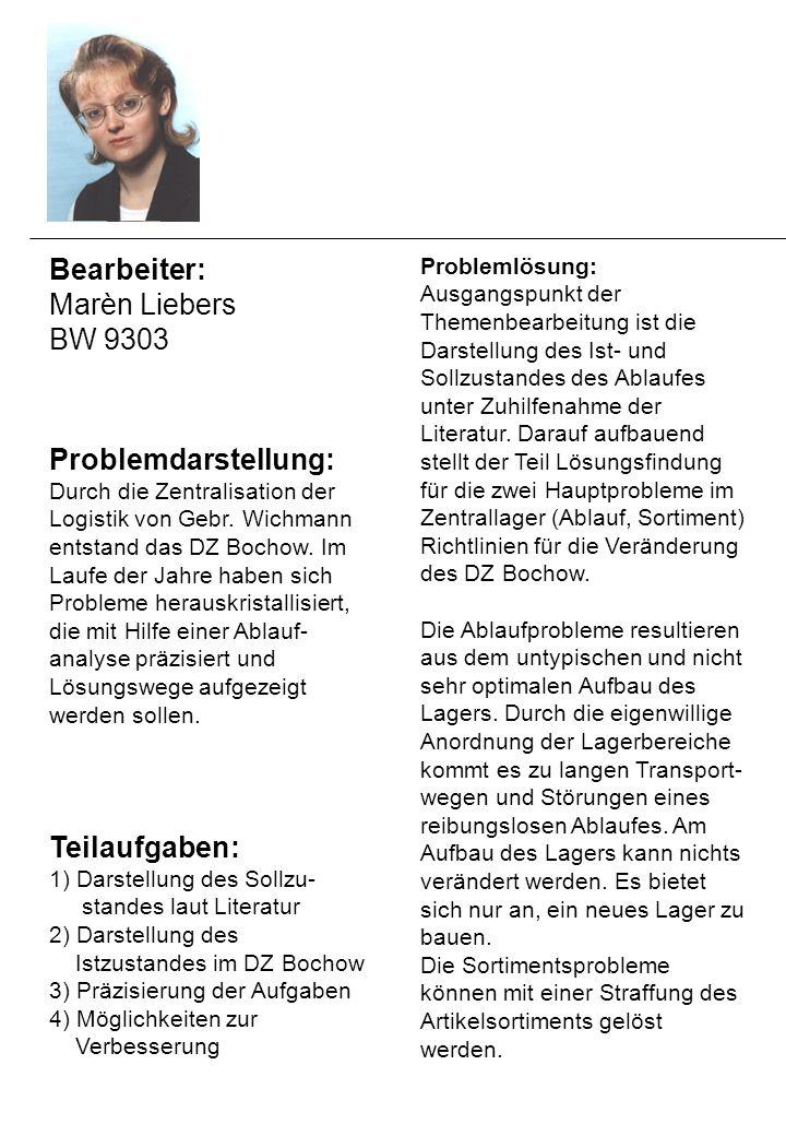 Bearbeiter: Marèn Liebers BW 9303 Problemdarstellung: Durch die Zentralisation der Logistik von Gebr.