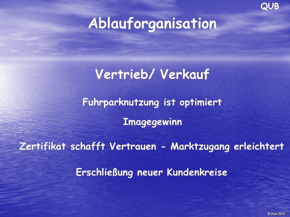QUB © Rau 2013 Ablauforganisation Vertrieb/ Verkauf Fuhrparknutzung ist optimiert Imagegewinn Zertifikat schafft Vertrauen - Marktzugang erleichtert E