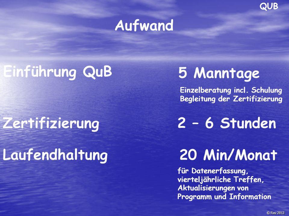 Aufwand © Rau 2013 Einführung QuB Zertifizierung 5 Manntage 2 – 6 Stunden Laufendhaltung 20 Min/Monat QUB für Datenerfassung, vierteljährliche Treffen
