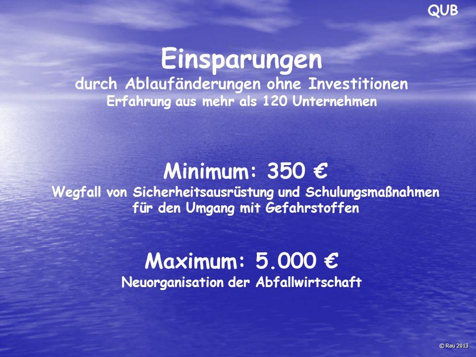 © Rau 2013 Einsparungen durch Ablaufänderungen ohne Investitionen Erfahrung aus mehr als 120 Unternehmen Minimum: 350 € Wegfall von Sicherheitsausrüst