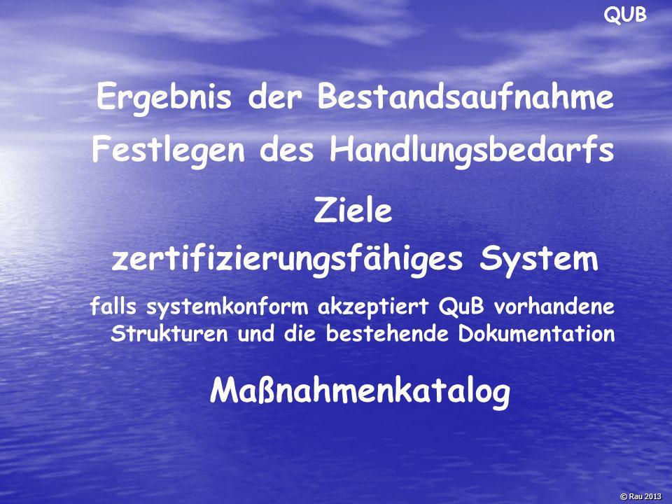 QUB © Rau 2013 Ergebnis der Bestandsaufnahme Festlegen des Handlungsbedarfs falls systemkonform akzeptiert QuB vorhandene Strukturen und die bestehend