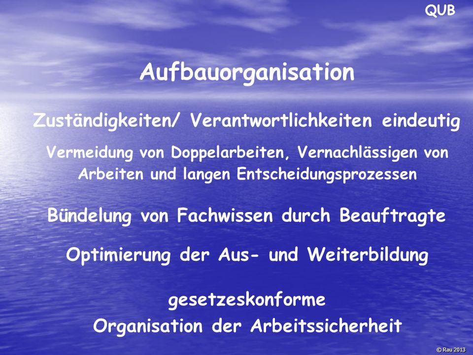 QUB © Rau 2013 Aufbauorganisation Zuständigkeiten/ Verantwortlichkeiten eindeutig Bündelung von Fachwissen durch Beauftragte Optimierung der Aus- und