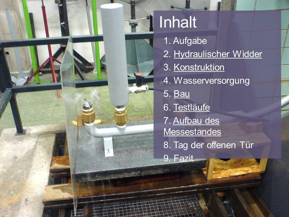 Inhalt 1. Aufgabe 2. Hydraulischer WidderHydraulischer Widder 3. KonstruktionKonstruktion 4. Wasserversorgung 5. BauBau 6. TestläufeTestläufe 7. Aufba