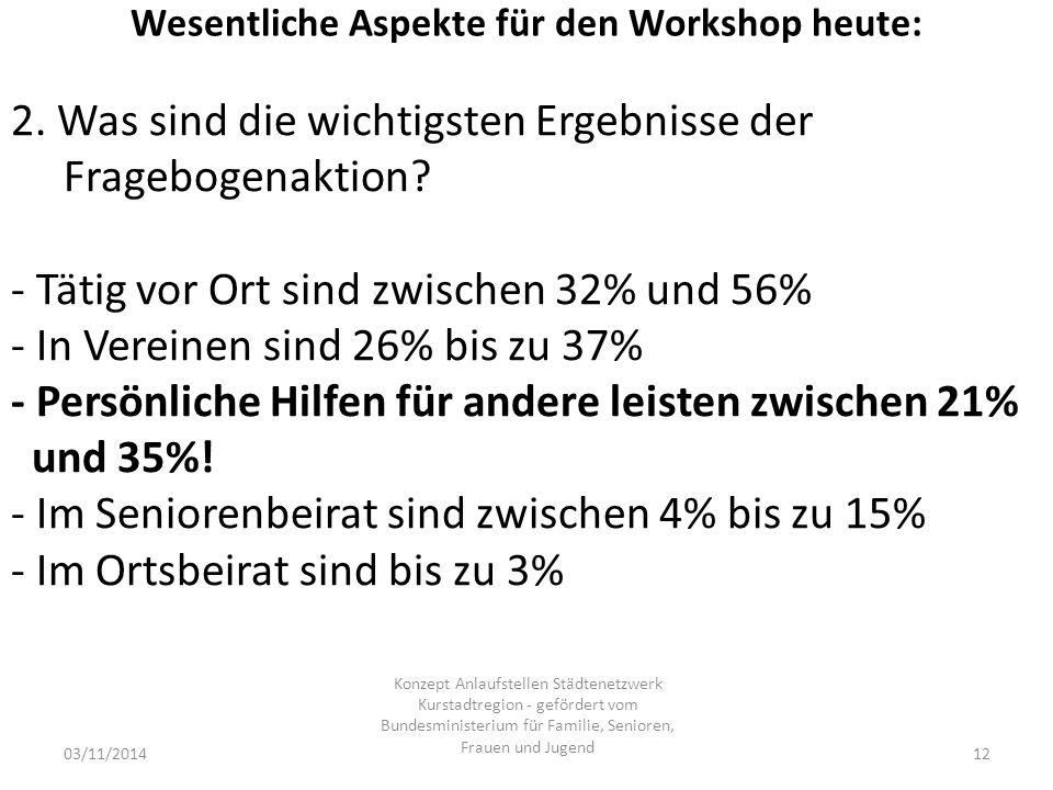 Wesentliche Aspekte für den Workshop heute: 03/11/2014 Konzept Anlaufstellen Städtenetzwerk Kurstadtregion - gefördert vom Bundesministerium für Familie, Senioren, Frauen und Jugend 12 2.