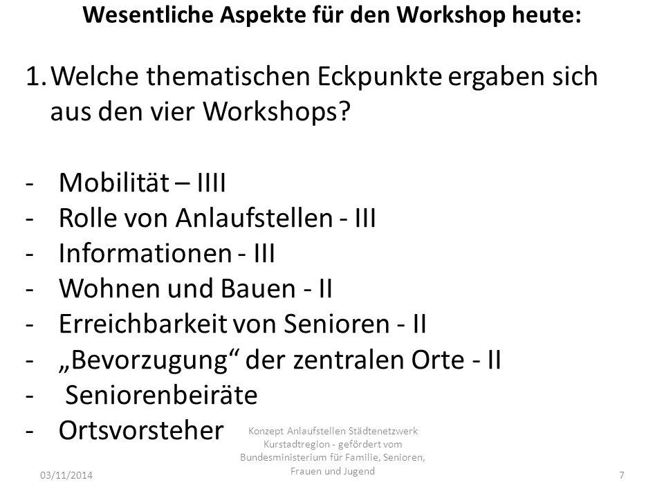 Wesentliche Aspekte für den Workshop heute: 03/11/2014 Konzept Anlaufstellen Städtenetzwerk Kurstadtregion - gefördert vom Bundesministerium für Familie, Senioren, Frauen und Jugend 7 1.Welche thematischen Eckpunkte ergaben sich aus den vier Workshops.