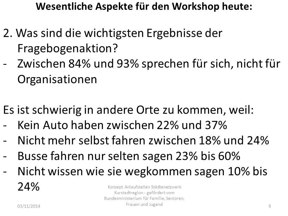 Wesentliche Aspekte für den Workshop heute: 03/11/2014 Konzept Anlaufstellen Städtenetzwerk Kurstadtregion - gefördert vom Bundesministerium für Familie, Senioren, Frauen und Jugend 9 2.