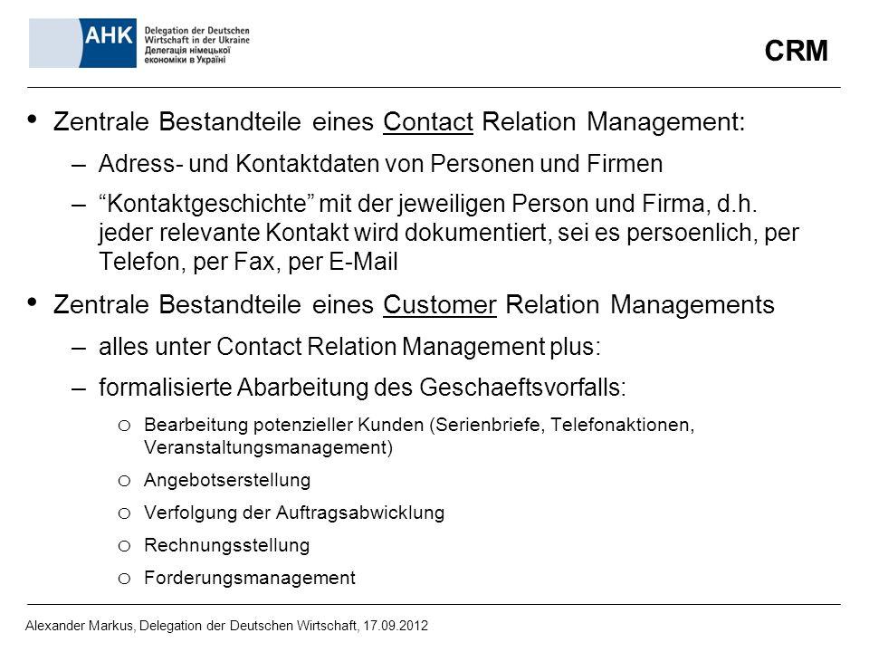 CRM Zentrale Bestandteile eines Contact Relation Management: – Adress- und Kontaktdaten von Personen und Firmen – Kontaktgeschichte mit der jeweiligen Person und Firma, d.h.