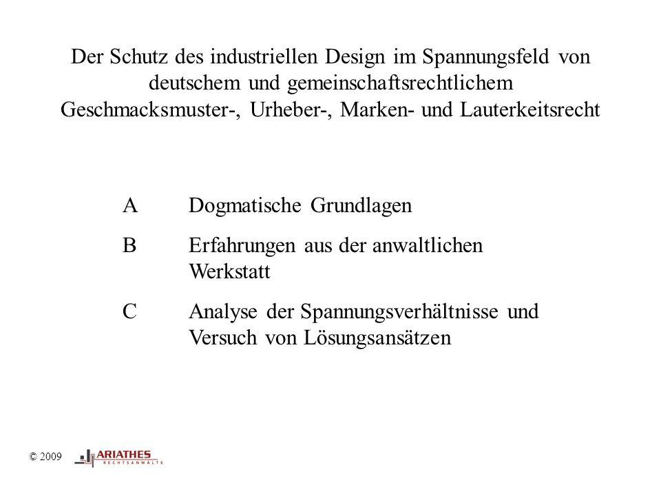 © 2009 II Geschmacksmusterrecht – Markenrecht © 2009 Kein Spannungsverhältnis Kein Handlungsbedarf