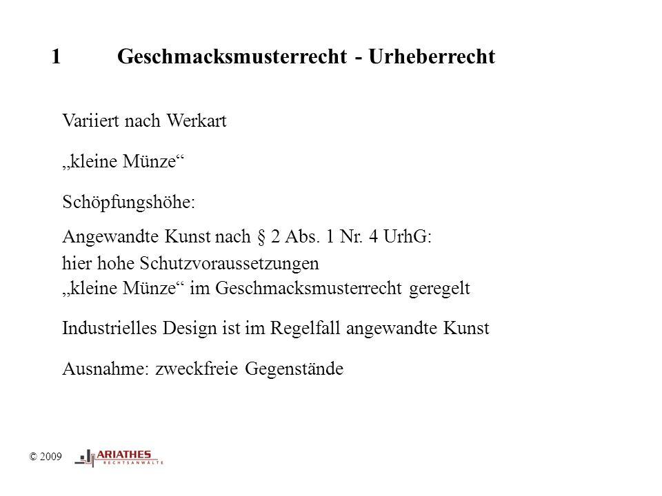 """© 2009 1 Geschmacksmusterrecht - Urheberrecht Variiert nach Werkart """"kleine Münze Schöpfungshöhe: Angewandte Kunst nach § 2 Abs."""
